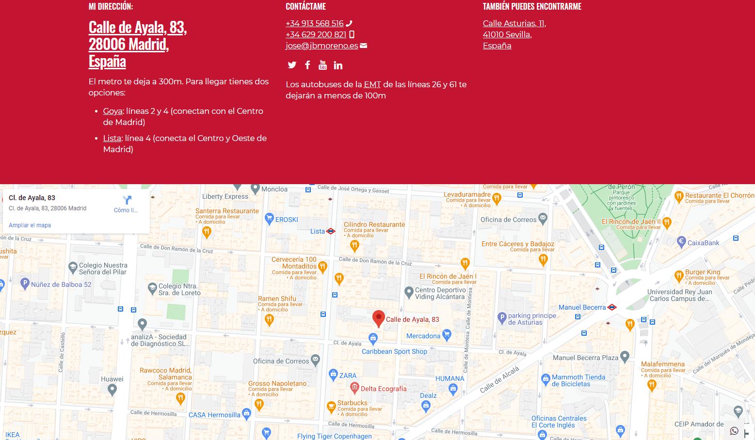Detalle de la página de contacto optimizada para posicionamiento en Google Maps